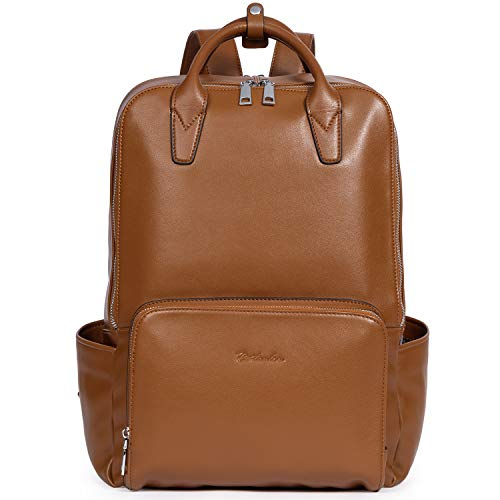 BOSTANTEN Laptop Backpack for Women 15.6 inch Computer Genuine Leather Backpack Purses College Travel Daypack Large Satchel - Brown - Large