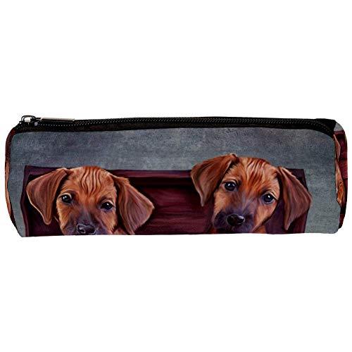 TIZORAX Teo Puppies in een vintage houten doos potlood Case Pen Rits Bag Coin Organizer make-up kostbare tas voor vrouwen tiener meisjes jongens kinderen