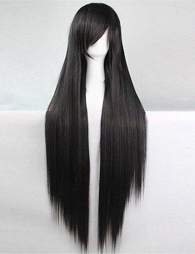 jiayy Europe et les Etats-Unis la nouvelle perruque de couleur 100 CM de hauteur de soie température noires longues pelucas de poil lisse, 34 Inch