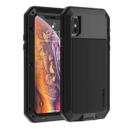 Focusor Cover iPhone X,Cover iPhone XS Antiurto[Resistente e Rugged] Robusta e Militare,Custodia Anticaduta,con Protezione dello Schermo Integrata per iPhone X/XS,Nero