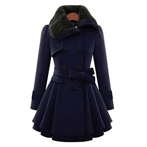 LuckyGirls Damen Wollmantel Winter Mantel Lange mit Gürtel Schalkragen Zweireiher Casualkleider (Marine, M)