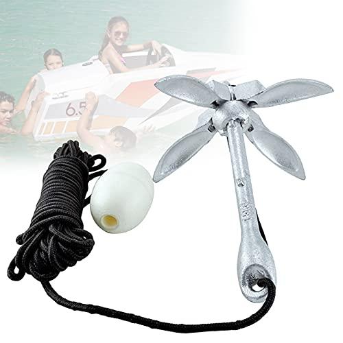 EnweLampi Ancla para Bote Pequeño 3.3 LB, Ancla de Tubo Flotante con Cuerda Remolque 39 Pies, Diseño Plegable Portátil para Sistema de Anclajes de Pesca