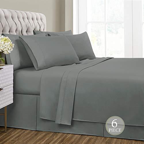 Sharry HOME LINEN King Bed Sheets Set 6 Piece- Deep Pocket,Hypoallergenic, Ultra Soft,Wrinkle Resistant(Charcoal Grey, King)