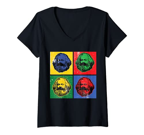Mujer Karl Marx Vintage Retro Pop Art Para Socialismo Política Camiseta Cuello V