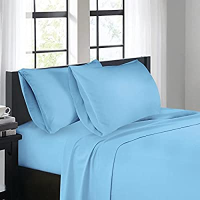 LIFEBEAUTY Bedding Bed Sheets, Queen Sheet Set [4 Pieces, Light Blue], Luxury Brushed Microfiber Sheet, Soft and Breathable, Deep Pocket Fitted Sheet, Flat Sheet, Pillow Cases, Breathable, Easy Fit