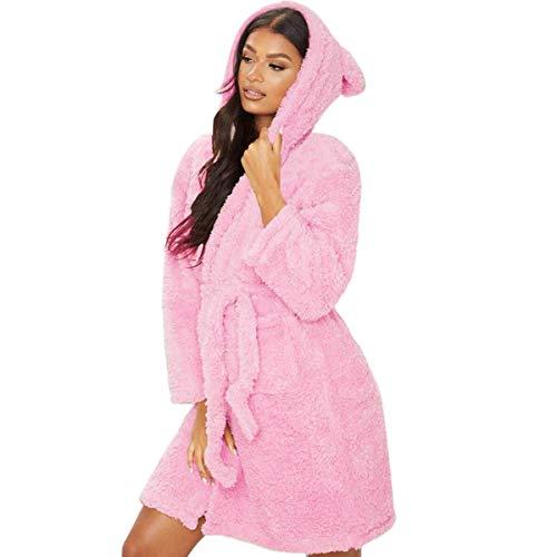 Pijamas de Moda Pijamas Suaves Invierno Cálido Batas Casuales Mujer Oreja con Capucha Albornoz Bata De Felpa Cuello En V