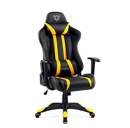 Diablo X-One Gaming Silla de Oficina Diseño Ergonomico Mecanismo de Inclinación Cojin Lumbar y Almohada Cuero Sintético (negro/amarillo)