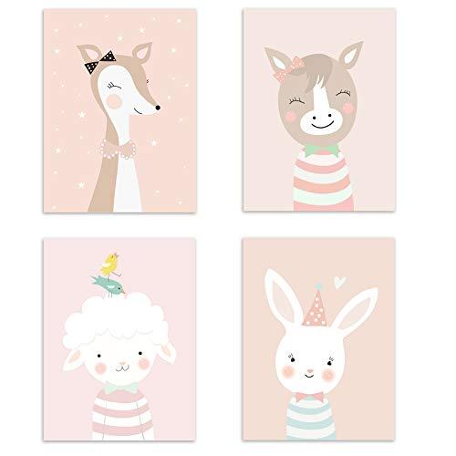 4er Set Kinderzimmer Babyzimmer Poster Bilder Din A4   Mädchen Junge Deko   Dekoration Kinderzimmer   Waldtiere Safari Skandinavisch 4er-d