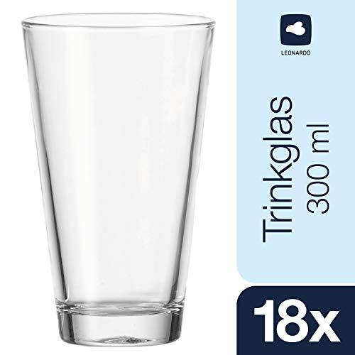 Leonardo Ciao Trink-Glas, Trink-Becher aus Glas, spülmaschinengeeignete Wasser-Gläser, 18er Set, 300 ml, 012905