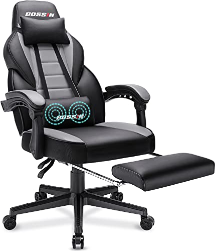 BOSSIN Racing Style Gaming Chair, 400LBS Computer Gamer Chair with Footrest and Headrest, Ergonomic Design, Large Size High-Back E-Sports PU Leather Racer Chair, Big and Tall Game Chair (Gray-FBA)