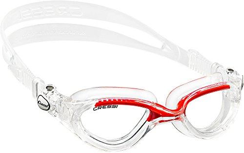 Cressi Flash Swim Goggles Gafas de Natación Premium para Adultos 100% Anti UV, Transparente/Rojo, Talla Única