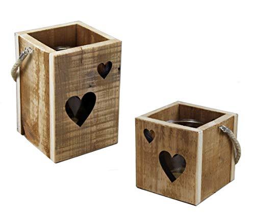 Windlichthouder set van 2 van mango hout - met glazen inzetstuk/in ster decor - houten theelicht houder kandelaar