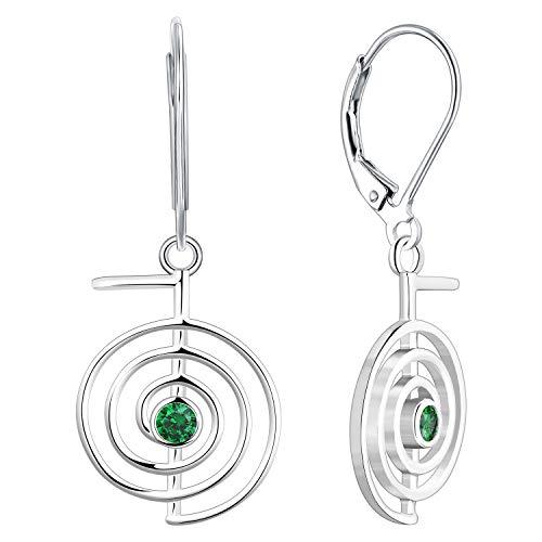 JO WISDOM Women Reiki Cho Ku Rei Earrings,925 Sterling Silver Healing Energy Yoga Power Drop & Dangle Earrings 3A Cubic Zirconia May Birthstone Emerald Color