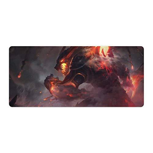 Extra großes Gaming-Mauspad, kompatibel mit LOL Der rutschfeste Wrath Zaun-Schutzpolsterschutz mit abgenähter Gummibasis für Gamer Office Home Black 31,5 'x 11,8'