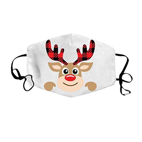 PPangUDing Weihnachten Mundschutz mit Motiv Waschbar Baumwolle Stoff Atmungsaktive Staubdicht Mund und Nasenschutz Halstuch Schlauchschal Multifunktionstuch Bandana für Damen Herren
