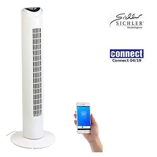 Sichler Haushaltsgeräte Ventilator mit App: Turmventilator mit WLAN und App, für Sir, Alexa und Google Assistant (Google Home Ventilator)