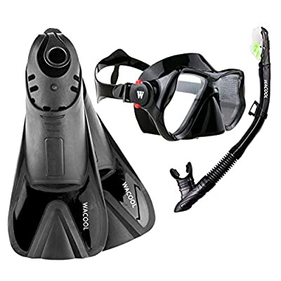 WACOOL Snorkeling Package Set for Adults, Anti-Fog Coated Glass Diving Mask, Snorkel with Silicon Mouth Piece,Purge Valve and Anti-Splash Guard w/Travel Short Swim Fins (Black L)