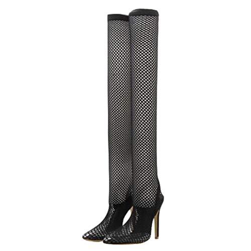 Damen Overknees Stiefel Sexy Spitz Sandalen Römischer Stil Mesh Slip-On Hoher Absatz Lange Stiefel Grün Schwarz