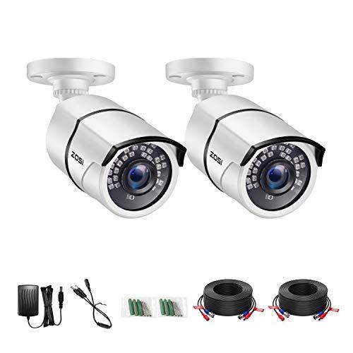 ZOSI 2X 1080p Außen Video Überwachungskamera Set mit Netzteil und Kabel, HD TVI Farb CCTV Kamera für DVR Sicherheitssystem, 36 IR LEDs, IP66 Metallgehäuse