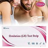 Bandelettes de test d'ovulation, 20 bandelettes de test de prédiction de fertilité sensible à la maison de précision des bandelettes de test d'urine LH indicateur de détection Test d'ovulation