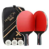X-xyA Pinza da Tavolo Professionale Pipistrello 2 Giocatore Impostato con 3 Pz a 3 Stelle Ping Pong Racket Racket Douning Bag,2 x penhold