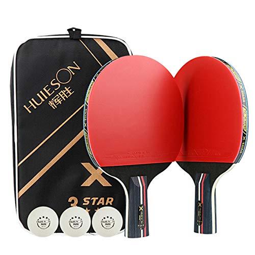 X-xyA Miros de Tenis de Mesa Profesional 2 Jugadores con 3 Piezas de 3pcs Ping Pong Raqueta de Bolsa de Transporte,2 x Penhold