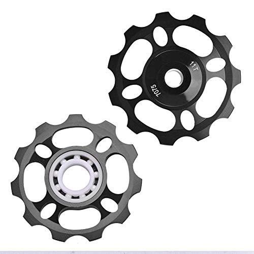 Keenso Rear Derailleur Pulley, Aluminum Sealed Bearing Jockey Wheel Parts Rear Derailleur Pulley Scram Parts For Bikes(Black)