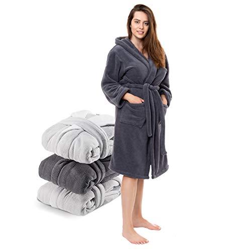 Twinzen Bademantel Damen Microfaser (100% Polyester) mit Kapuze für Erwachsene (Small, Dunkelgrau) Oeko TEX zertifizierte Bekleidung - Morgenmantel 2 Taschen, Gürtel und Aufhängeschlaufe