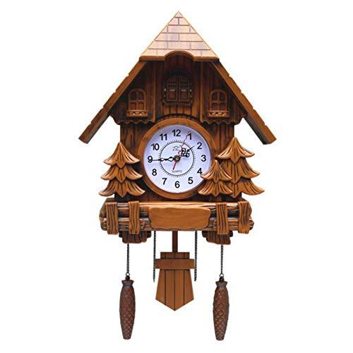 NAGT Reloj Despertador de Cuco de pájaro, Reloj de Cuco de Madera Antiguo, en Reloj de Cuco, decoración del hogar, Sala de Estar, habitación de los niños, 63X37x15cm,B