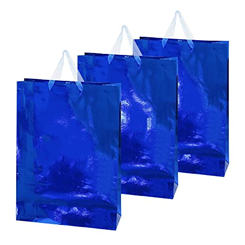 12pcs Gift Bags with Handles, Extra Large Metallic Blue Foil Paper Bags for Graduation, Hanukkah, Birthdays, Bachelorette Party Favors, Weddings, Holiday Presents (Blue)