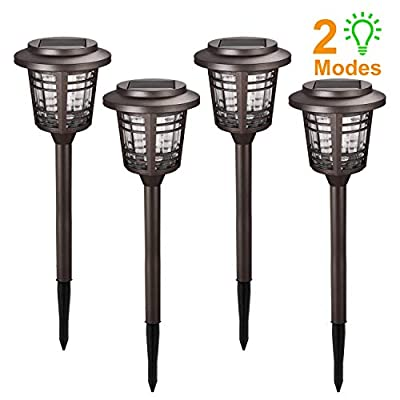 Solar Pathway Lights - 4 Pack 15-30LM Solar Path Lights Outdoor w/Rotate Mode, Pathway Lights Solar Powered, Auto On/Off, IP65 Waterproof LED Landscape Lights for Garden Path Yard Warm White