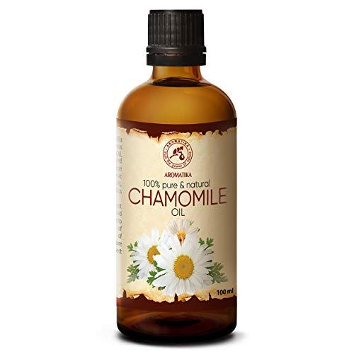 Kamillen Öl 100ml - 100% Natur & Reines Äthrisches Kamillenöl - Rein & Natürlich Pflanzenöl - Intensive Pflege für Gesicht - Körper - Haare - Nägel - Hände - Massage - Chamomile Oil