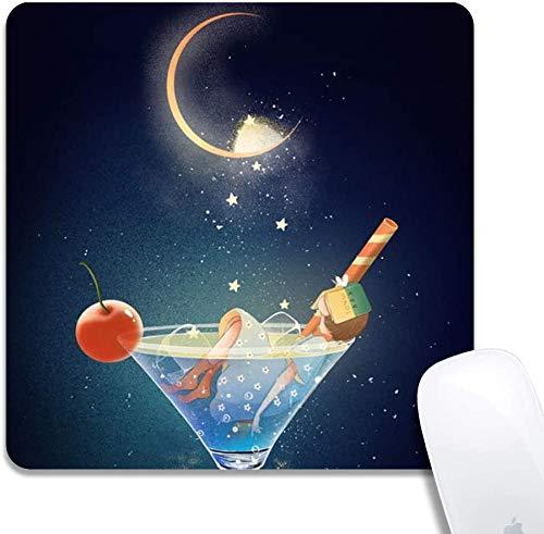 Mauspad mit genähten Kanten, blaues Weinglas Kundenspezifisches Design Erweitertes Gaming-Mauspad Anti-Rutsch-Gummibasis Ergonomisches Mauspad für Computer - Schwarzes Quadrat