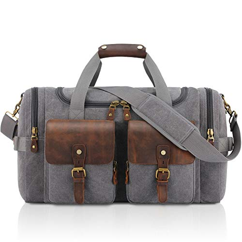 MxZas Overnight Weekend Bag Mens Large Capacity Canvas Weekend Travel Bag Tote Bag Shoulder Handbag Luggage Gym Sport Crossbody Bag Unisex (Color : Gray, Size : 22x12x9 inch)