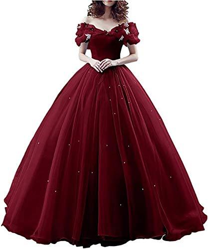 RJOAMEUDRESS Damen Prinzessin Sweet 16 Schmetterling Ballkleid Cinderella Quinceanera Kleid