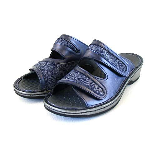 Stuppy Pantoletten dunkelblau metallic Damen Schuhe Leder Wechselfußbett 18131, Größe:37 EU