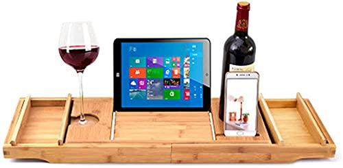 Llq2019 Copas de Vino, Libros, tabletas, iPads y Soportes para teléfonos móviles.Puente Extensible/Ajustable, Madera Natural en una Bandeja 100% bambú, con Dos Toallas de baño (tamaño: A)