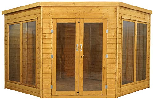 Green Planet UK - 9x9 Premium Hoek Zomerhuis, Tuincabine - FSC gecertificeerd hout, Dubbele deuren, Styreen Glas met Glas (9x9 / 9ft x 9ft) 5-14 Dagen Levering