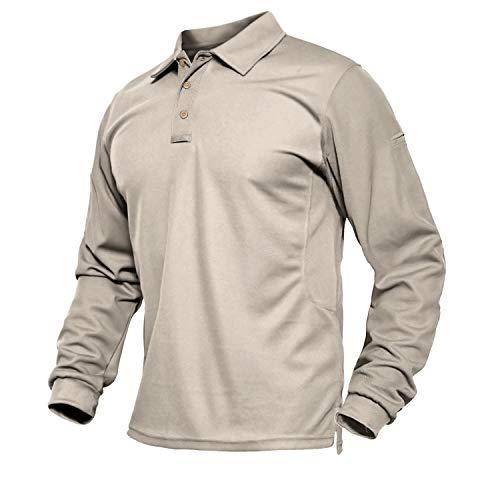 Golf Poloshirt Herren Langarm Polo Shirt Männer Langarmshirt Freizeit Shirt Longsleeve Sportshirt Schnelltrocknend Funktionsshirt Sport Shirt Khaki XL
