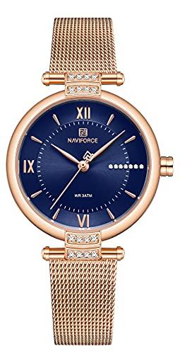 NAVIFORCE Relojes de moda para mujer, impermeables, analógicos, de lujo, con diseño de cara única, para mujer
