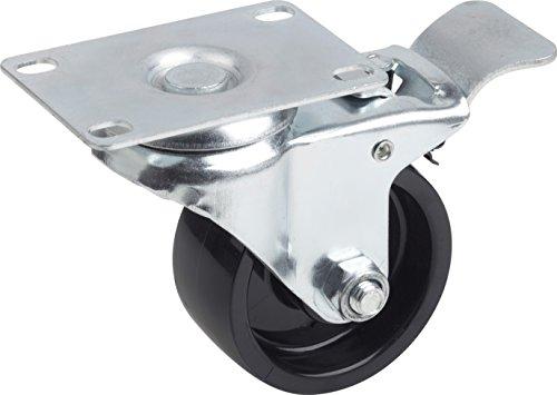 Metafranc Lenkrolle Ø 75 mm - Feststeller - 91 x 62 mm Platte - Polyamid-Rad - Harte Lauffläche - Gleitlager - 100 kg Tragkraft / Transportrolle / Möbelrolle / Schwerlastrolle / 803020