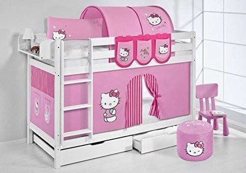 Lilokids Lit superposé JELLE Hello Kitty Rose - lit d'enfant Blanc - avec Rideau et Deux sommiers, lit 90x200 cm