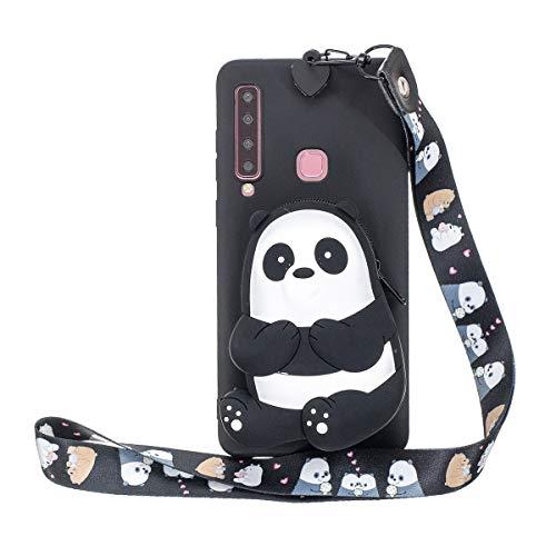 WOOHOO Handyhüllen Kompatibel mit Samsung A9 2018/A920 Hülle Panda (Schlüsselband lang) 3D Cartoon Silikon Tiere Schutzhülle Süß Case Cover Mit Gurt für Frauen Kinder - Schwarz