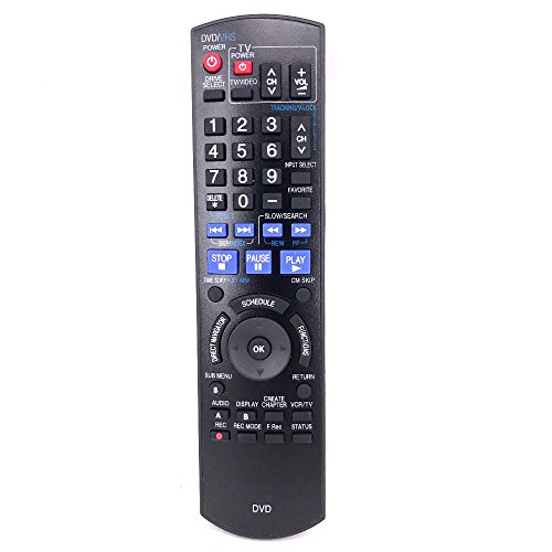 Replacement Remote Controller for Panasonic DMR-EZ48V DMR-EZ48K DMR-EZ48VE DMR-EZ485 DMR-EZ485V DMR-EZ485VK DVD Recorder
