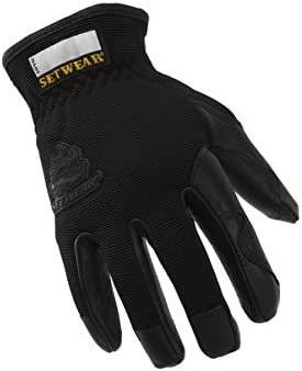 SetWear Pro Leather Gloves Black, Pair Large