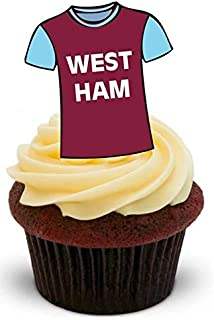FOOTBALL SHIRT WEST HAM - 12 Edible Stand Up Premium Wafer Cake Toppers