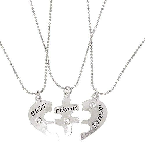 Best Friends Forever - Collar con cuentas en forma de corazón para 3 amigos