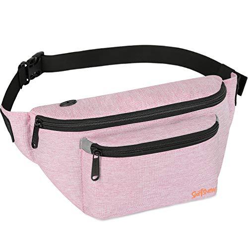 Fanny Packs for Men Women - Waist Bag Packs - Large Capacity Belt Bag for Travel Sports Running Hiking Large, Pink