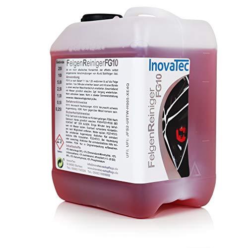 Inovatec Felgenreiniger Konzentrat FG10 – Hoch alkalisches Konzentrat für Alu- und Stahlfelgen – Löst schnell und wirkungsvoll selbst eingebrannte Verschmutzungen – Im 5 Liter Kanister