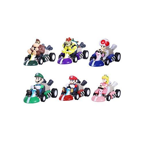 Max Fun Mario Kart Cars Pull Backs Action Figure (Pack of 6)
